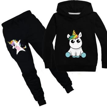 Толстовка с капюшоном в виде единорога, детские свитера, модная детская футболка с капюшоном, пальто для маленьких девочек, детская одежда, ...
