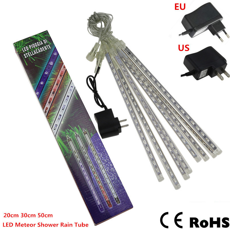 8pcs/set Meteor Shower Rain LED Tubes waterproof 110V 220V LED Christmas Lights Wedding Party Garden Xmas String Light Outdoor