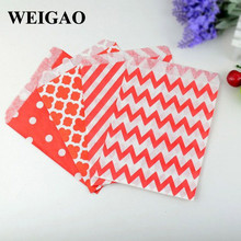 WEIGAO 100Pcs Four Styles Mix Candy Bags Popcorn Packing Wrap Wedding Decorations Baby Shower Candy Box Birthday Party Gifts