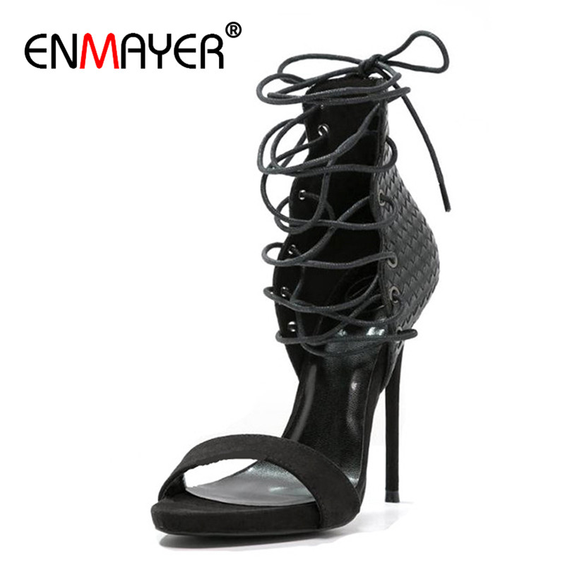 ENMAYER  Supper High Heels Gladiator Sandals Women Plus Size 34*43 Open Toe Lace-up Shoe Cross-tied Summer Sandals Black Blue black sequins embellished open back lace up top