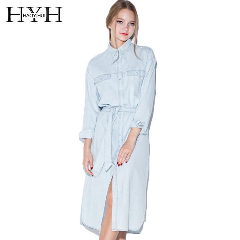 HYH HAOYIHUI  Women Dress Basic Long Sleeve Pockets Dress Front Belt Casual Vintage Dress Women Blue Solid Midi Shirt Dress