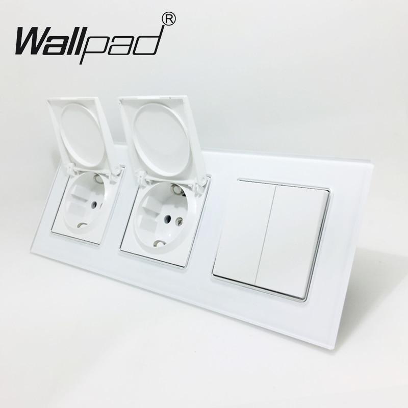 2 Cap EU Socket+ Switch Wallpad Luxury White Crystal Glass EU Triple Frame 1 Gang 2 Way and 16A EU Socket with Claws Mount eu