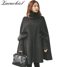 New 2017 Fashion Women Winter Jacket Vintage Batwing Wool Warm Fur Collar Cloak Poncho Capes Coat Ladies Shawl Outwear Casaco(China)