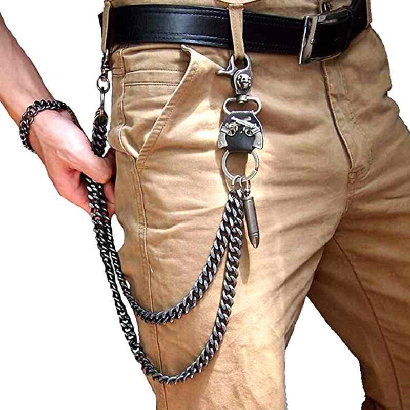 Fashion Men Wallet Chains Biker Trucker Punk Rock Jeans Chain 2 Layers Link
