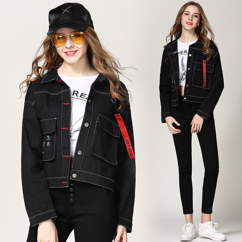 Printed For Denim Aboorun X2381 Coat Spring Bf Girls Jacket Autumn Women Black w8IHqIBU
