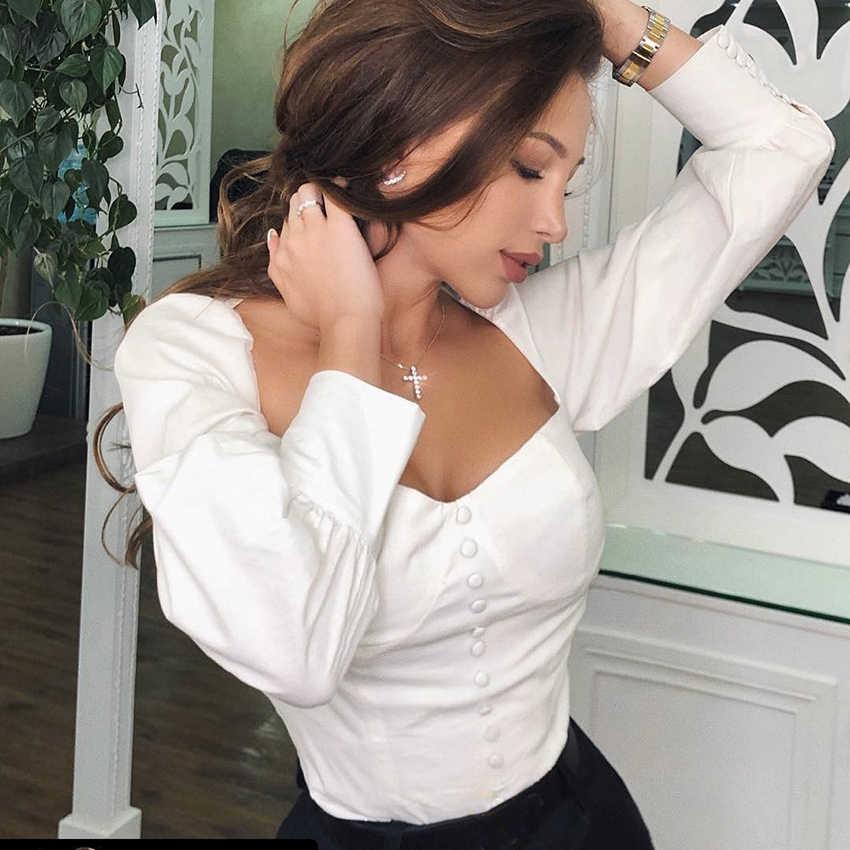 OOTN Kare Yaka Beyaz Tunik Kadın Bluz Gömlek Kadın Zarif 2019 Yaz Seksi Puf Kollu Bayanlar Ofis Bluzlar Rahat