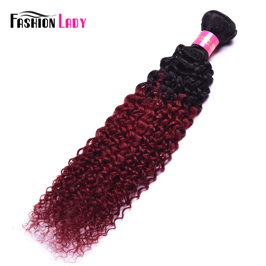 Fashion Lady Pre Colored Burgundy Malaysian Red Ombre Hair Bundles 1b/burg Two Tone Bundles Curly Weave Human Hair 1Pcs Non remy