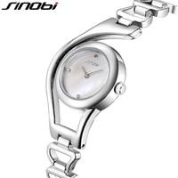 SINOBI Fashion Bracelet Watch Women Crystal Round Wrist Watch For Women Rose Gold Ladies Watches Elegant