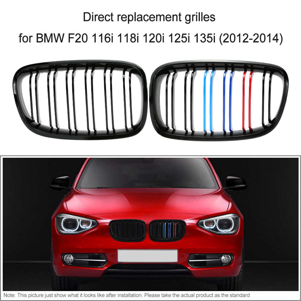 for BMW F20 One Pair Front Center Kidney Grilles Gloss Black Mixed Color Grill116i 118i 120i 125i 135i 2012 2013 2014