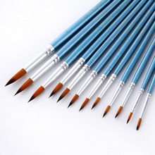 12Pcs/Lot Paint Brush Oil Painting Brushes Watercolor Gouache Nylon Hair Different Size Artist Fine Art Supplie