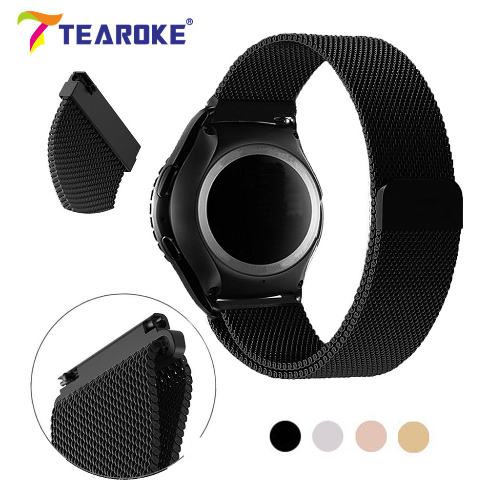 20mm 22mm Milanese Watchband for Samsung Gear S2 S3 Classic huami Magnetic Loop Stainless Steel Black Band Strap for Gear Sport for samsung gear s2 classic black white ceramic bracelet quality watchband 20mm butterfly clasp