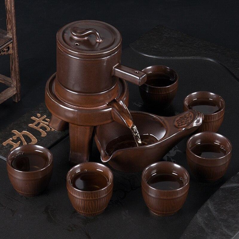 Semi automatico Tea Set Mulino In Pietra Teiera Domestica Semplice Pigro di Ceramica kung fu Tazza di Tè Set-in Servizi da tè da Casa e giardino su  Gruppo 2