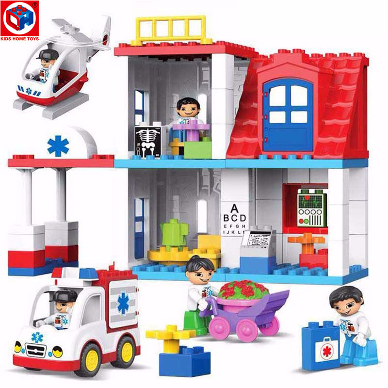 Kid's Home Toys Brand Large Particles City Hospital Rescue Center Model Building Blocks Large Size Brick Compatible With Duplo qwz 39 65pcs farm animals paradise model car large particles building blocks large size diy bricks toys compatible with duplo