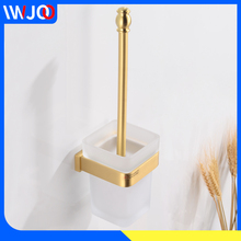 Toilet Brush Holder Bathroom Clean Cleaning Brush Wall Mounted Accessories Bathroom Toilet Brush Set Brass Creative Glass Cup