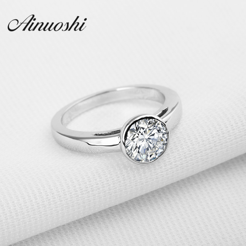 AINOUSHI 1.25 Ct Round Cut Solitaire NSCD Wedding Ring 925 Sterling Silver Anelli Donna Women Wedding Engagement Ring