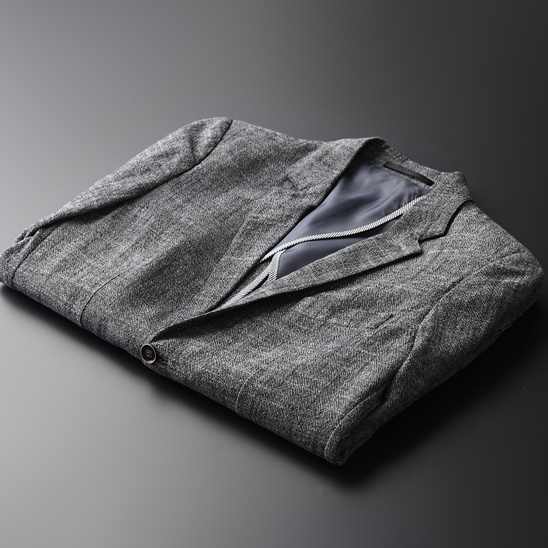 Clothing Linen Single-Breasted-Suit Slim Male Plus-Size Men's Fashion Casual Brand Comfortable