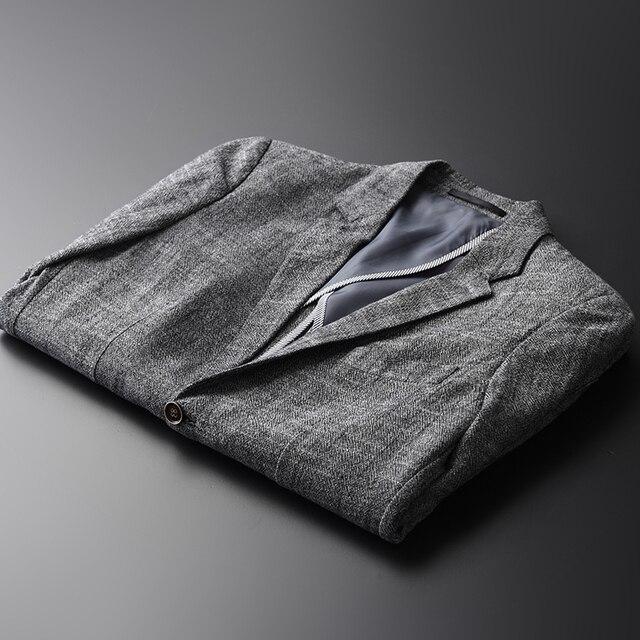 Magro Ocasional dos homens de Linho Casual Pure Color Único Breasted Terno Novo Estilo de Marca de Moda Masculina Roupas Confortáveis Plus Size M-4XL