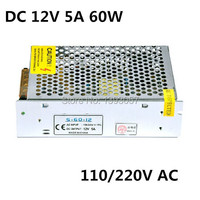 2PCS 12V 5A 60W 110V 220V Lighting Transformers high quality safy Driver for LED strip 3528 5050 power supply