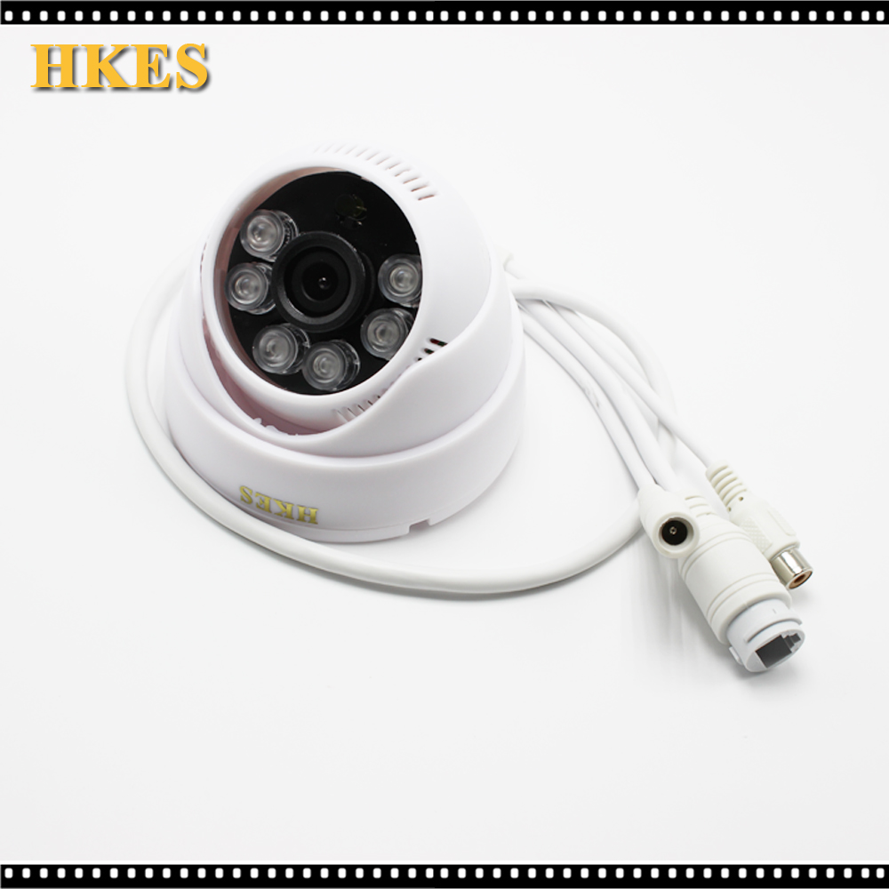 HKES Mini ip Camera 1280*720 HD Microphone Audio Output Security indoor dome Night Vision Ir Cut 4 in 1 ir high speed dome camera ahd tvi cvi cvbs 1080p output ir night vision 150m ptz dome camera with wiper