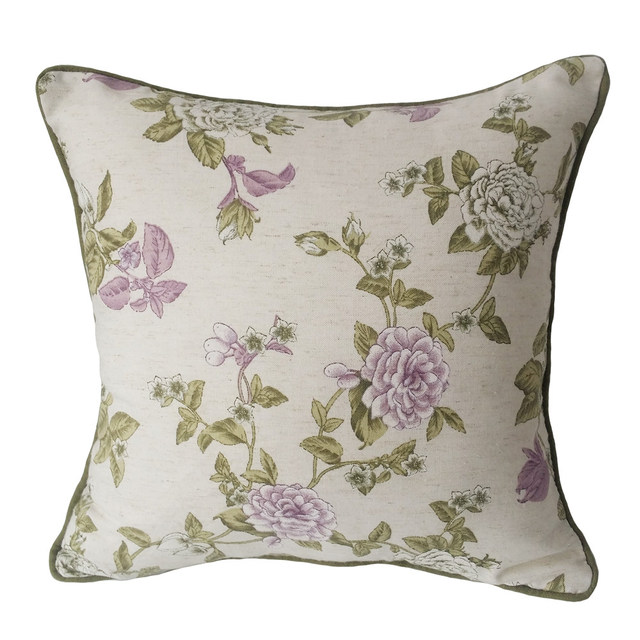 Decorative Pillow Cover Model : Contemporary Linen/polyester Lilac Green Print Small Flower Decorative Pillow Case Sofa Cushion ...
