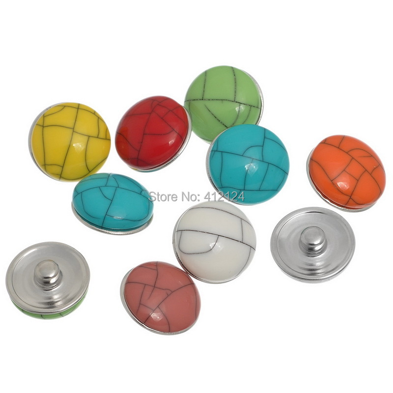 12Pcs DIY Mixed Round Snap Press Buttons 5.5mm Fit Bracelet Jewelry Component 18mm x9mm