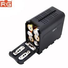 BB 6 6 pces aa bateria caso pacote bateria titular potência como NP F NP 970 series bateria para led vídeo painel de luz/monitor