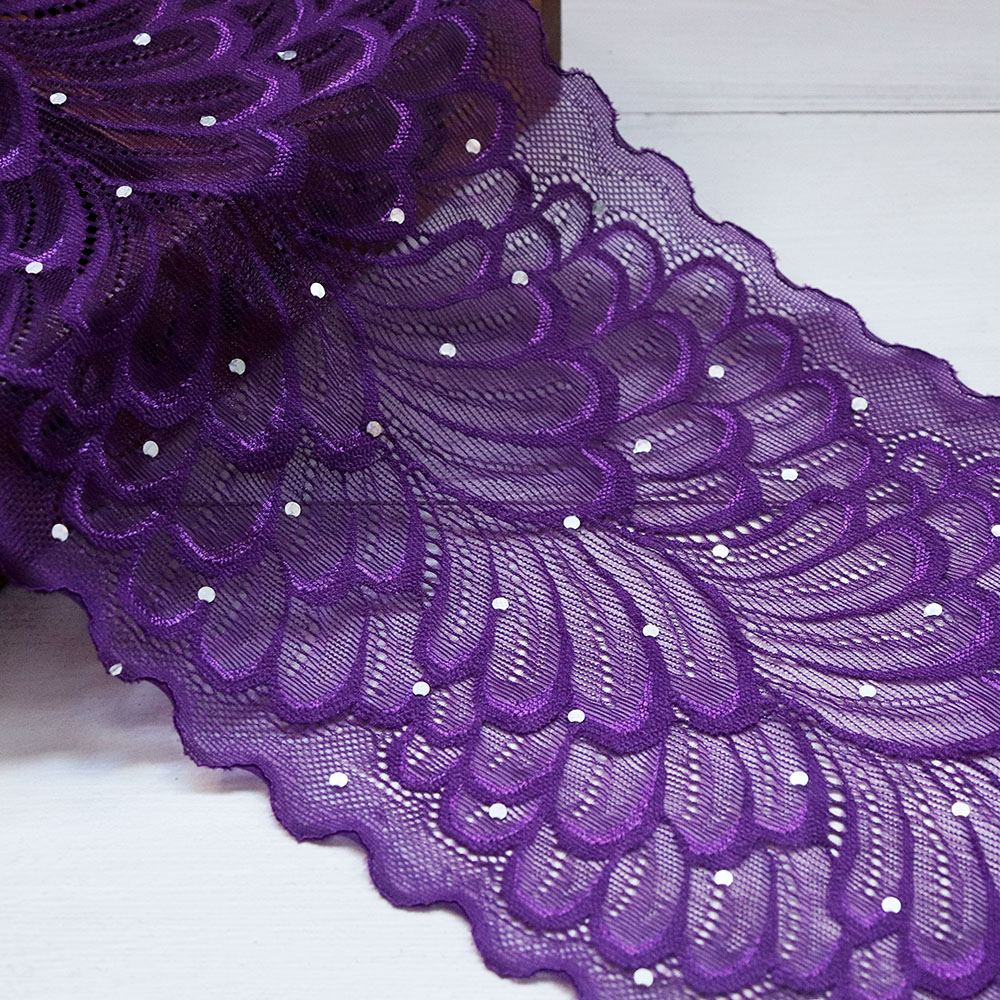 2Yards 18cm Width Spandex Elastic Lace Trims Ribbon with Crystals Embroidery Stretch Lace Fabric Sewing Appliques Wedding Dress in Lace from Home Garden