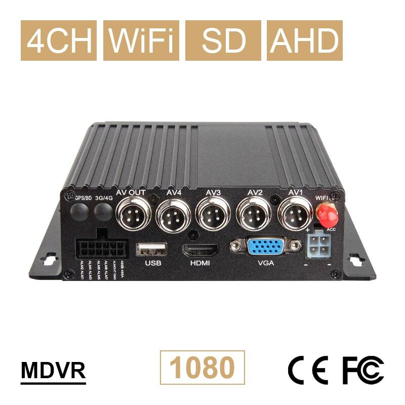 Nouveau 4CH WIFI voiture Mobile Dvr AHD 1080P carte SD véhicule vidéo Mdvr 24H surveillance en temps réel Support en ligne Iphone/android App Dvr
