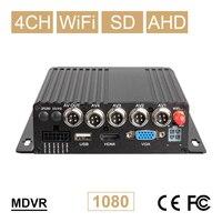 Venta Nuevo 4CH WIFI coche móvil Dvr AHD 1080P tarjeta SD vehículo vídeo Mdvr 24H monitoreo en
