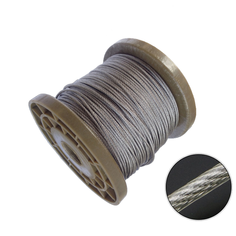 5 Meters 2/3/4/5/6mm 8mm Diameter Steel PVC Coated Flexible Wire Rope Cable Transparent 304 Stainless Steel Clothesline 7*7