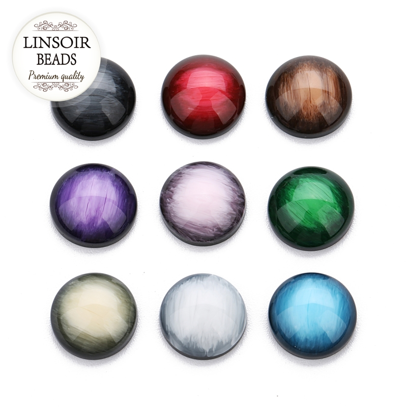 LINSOIR 30pcs 9 Colors 12mm Natural Stone Cabochon Bead Faceted Cabochon Stone Flatback Resin Beads For Diy Jewelry Making F7371 image