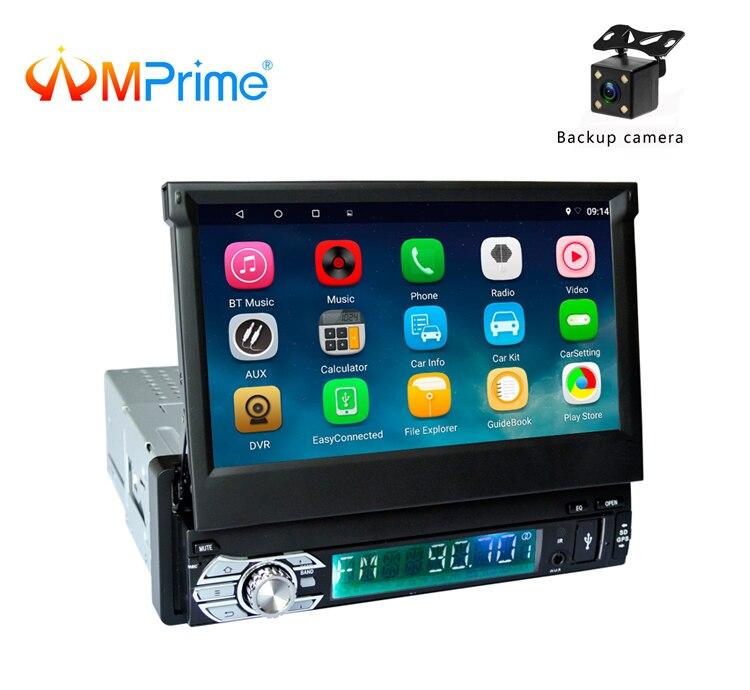 AMPrime1 Din android автомобильный радио Wi Fi Bluetooth мультимедийные плееры gps навигации 7 дюймов выдвижной Сенсорный экран Авто аудио видео