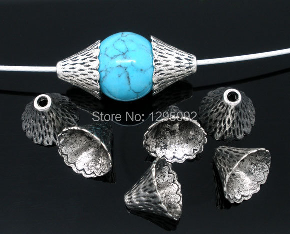 200Pcs Silver Tone Cone End Beads Caps Metal Jewelry Making Findings Charms Component Wholesale 12mmx9mm