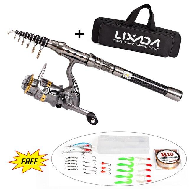 Lixada Spinning Fishing Rod Combo Reel Gear Organizer Pole Set Telescopic Fishing Rod Reel Full Kit with 100M Fishing Line Lure