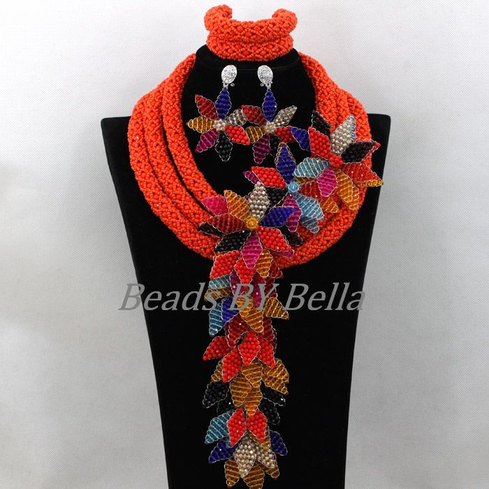 Opaque Orange Crystal Beads for Women Handmade Flower African Wedding Jewelry Nigerian Statement Necklace Free Shipping ABK176Opaque Orange Crystal Beads for Women Handmade Flower African Wedding Jewelry Nigerian Statement Necklace Free Shipping ABK176