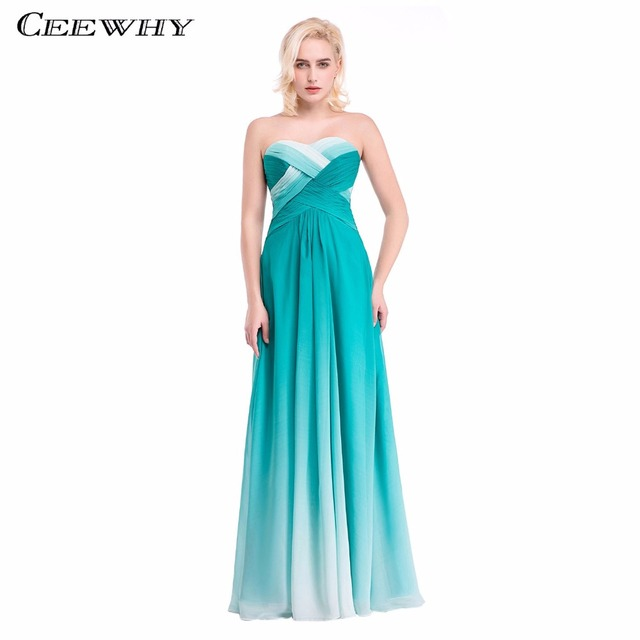 Gradient Color Cross Chiffon Sweetheart A-Line Women Formal Gowns  Bridesmaid Dresses Floor-Length 79cba21b12a8