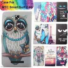 Fashion 11 Colors Cartoon Painting PU Leather Magnetic clasp Wallet Cover For MTC Smart Surf 2 4G Case