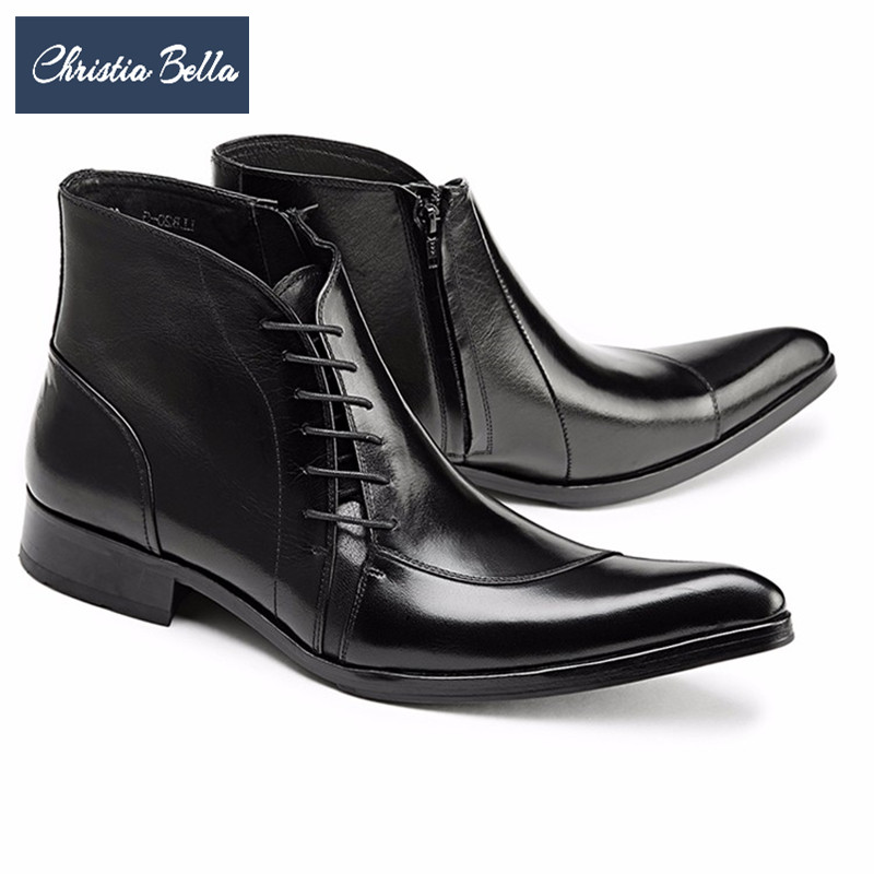 цены Christia Bella Genuine Leather Cowboy Men Boots Lace Up Ankle Boots Fashion Wedding Party Men Dress Shoes Business Oxfords Shoes