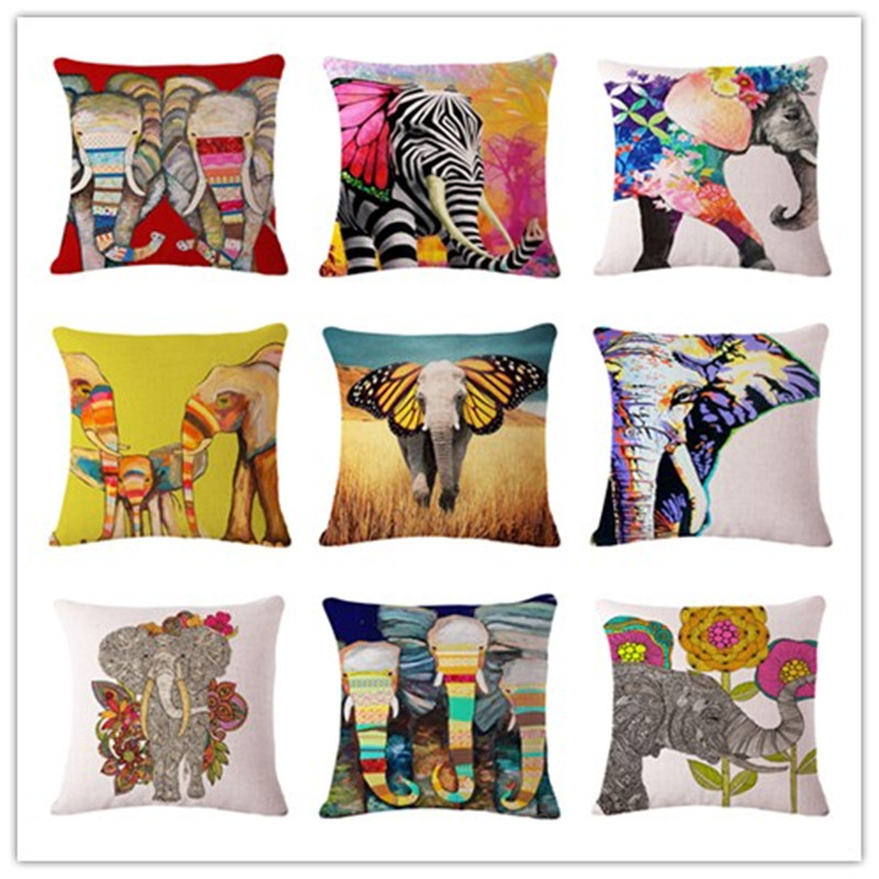 Cushion: The elephant series Style 45*45cm Square Home Decorative Pillow Music Note Printed Throw Pillows Car Home Decor Cushion Cojines