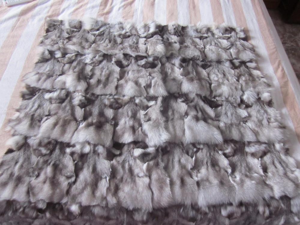 New Arrival Natural Blue Fox Fur Plates Blankets DIY Fur Raw Material Fox Head Plaid Carpet