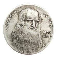 1452-1519 монета да Винчи ручной работы Серебряная монета памятная коллекционная