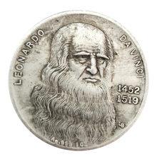 1452-1519 da vinci moeda artesanato prata moeda coleção comemorativa
