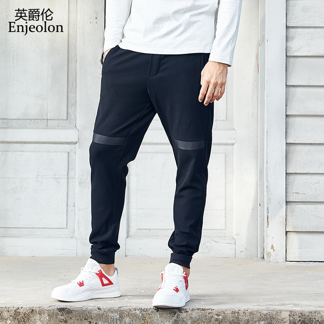 Enjeolon brand new winter long trousers pants men black fashion sweatpants for men quality casual pants males clothes KZ6321