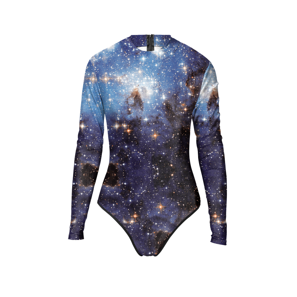 New 005 Girl Summer Black Universe Galaxy Star Prints Zip Long Sleeve One Piece Swimsuit Monokini Women Swimwear Bathing Suit