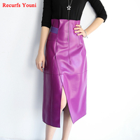 New Women Genuine Leather Black/Purple Long Maxi Skirts Femme Befree High Waist Fold Slit Jupe Longue Sexy Faldas Mujer 8332