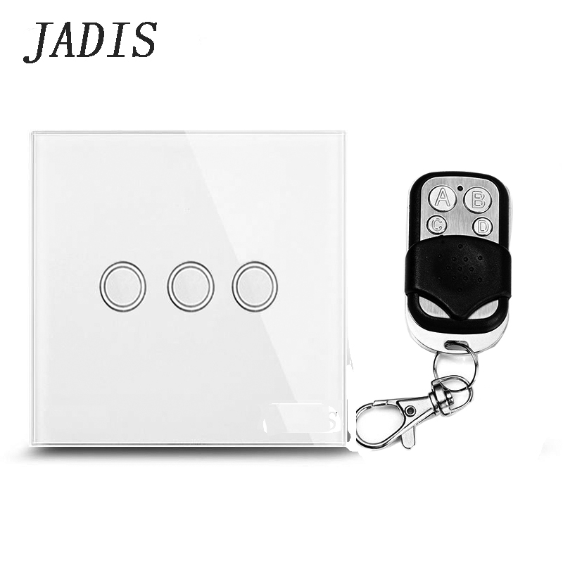Standard EU / UK JADIS Remote Control Switch 3 Gang 1 Way, Wall Touch Switch, White Glass Glass + Blue LED Indicator eu uk standard funry remote control switch 3 gang 1 way crystal glass remote wall touch switch led blue indicator for smart home