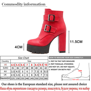 Image 5 - Gdgydh Wholesale Spring Women Boots Platform Rubber Sole Ladies Casual Shoes Plus Size Black High Heels Zipper Red Leather Boots