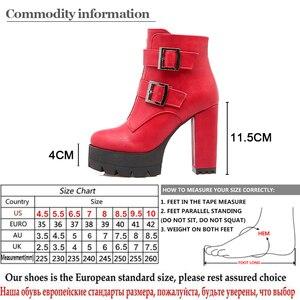 Image 5 - Gdgydh botas con suela de goma para mujer, zapatos informales con plataforma, de talla grande, color negro, rojo, de alta Tacones con cremallera, para primavera