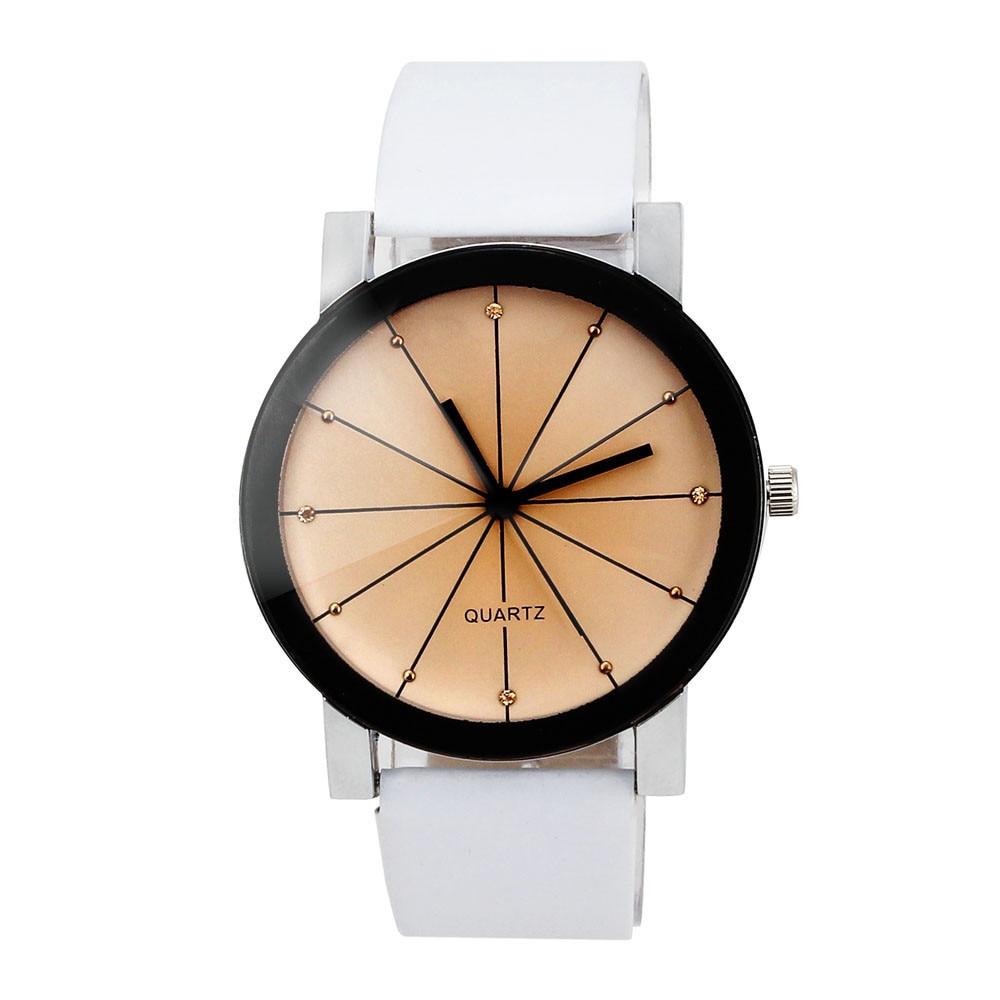 2018 Baru Kedatangan Pria Kuarsa Dial Jam Kulit Wrist Watch Putaran - Jam tangan wanita - Foto 1