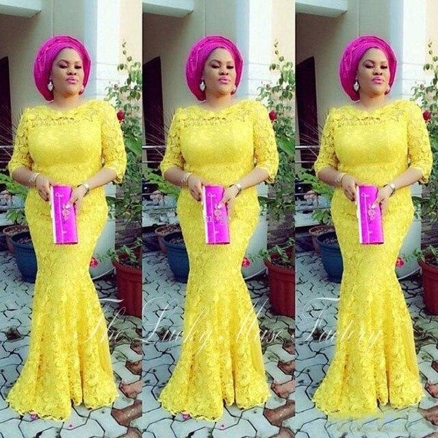 Aso Ebi Stil Gelbe Spitze Afrikanische Prom Kleider Nixe Halb ...